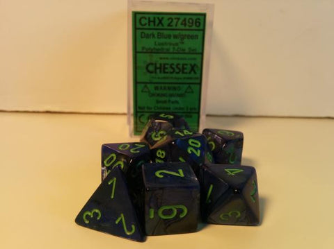 Set of 7 Chessex Lustrous Dark Blue/green RPG Dice