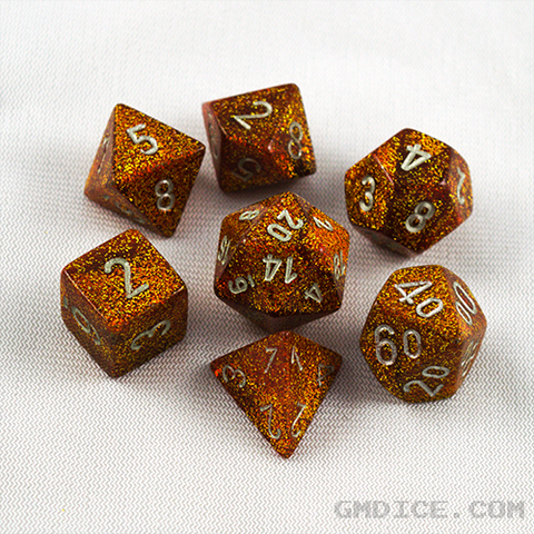 Set of 7 Chessex Glitter Gold/silver RPG Dice