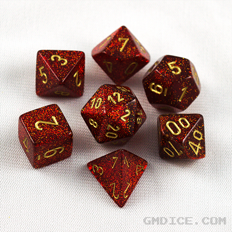 Ruby red glitter dice by Chessex for role-playing games, with gold numbering.