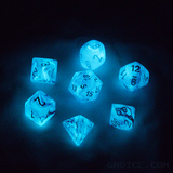 Blue glow-in-the-dark D&D dice.