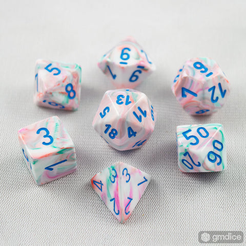 Set of 7 Chessex Festive Pop Art/blue RPG Dice