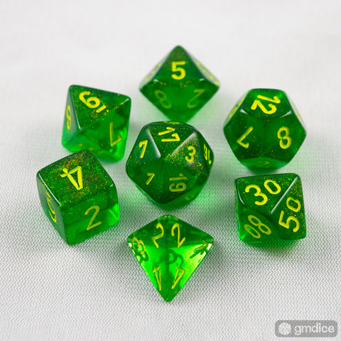 Set of 7 Chessex Borealis Maple Green/yellow RPG Dice