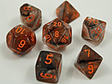 Set of 7 Chessex Nebula Copper Matrix with Orange Luminary RPG Dice