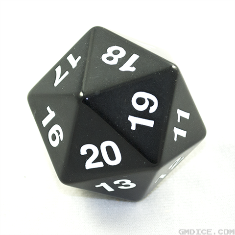 A massively big black die.