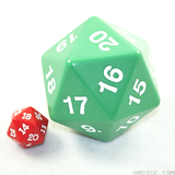 A very big 20-sided dice, with a normal-sized die pictured for scale.