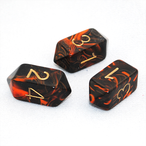 Orange crystal oblivion four-sided dice