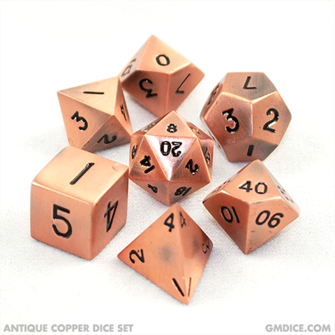 16mm Antique Copper Metal Dice Set