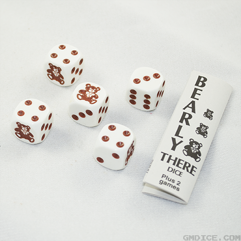 Dice and instruction set for the Bearly There dice game by Koplow Games.
