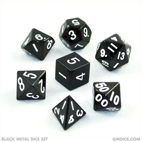 16mm Black Metal Dice Set