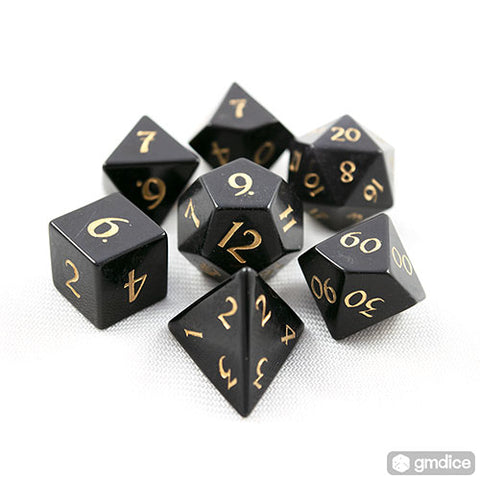 Black Obsidian Dice Set of Protection