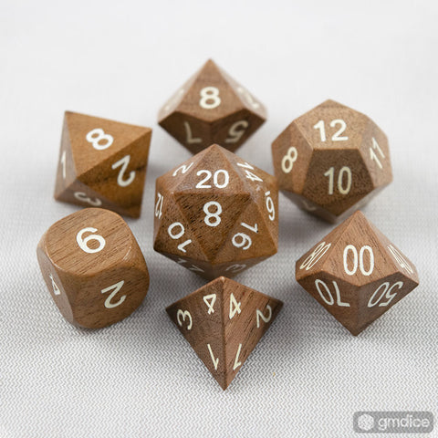Black Walnut Wooden Dice Set