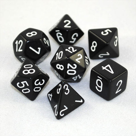 Chessex Opaque Polyhedral Black/white 7-Die Set