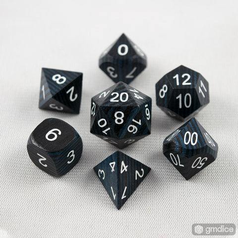 Blue and Black Technical Wooden Dice Set