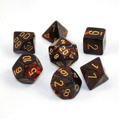 Set of 7 Chessex Scarab Blue Blood/gold RPG Dice