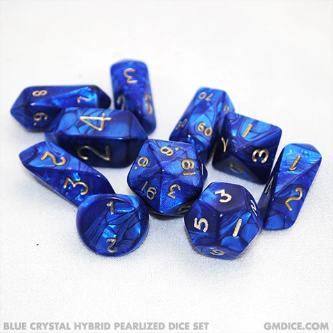 10-Piece Crystal Hybrid Pearlized Dice Set - Blue