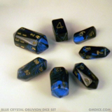 d20, d12, d10, d8, d4, d6, and percentile crystal DnD dice (blue)