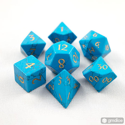 Blue Turquoise Dice Set of Defense