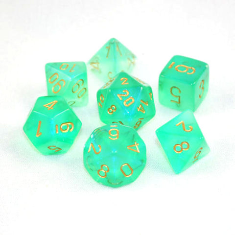 Set of 7 Chessex Borealis Light Green/Gold RPG Dice
