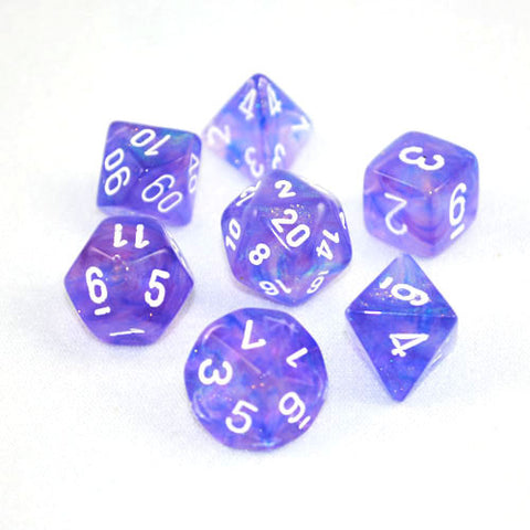 Set of 7 Chessex Borealis Purple/white RPG Dice