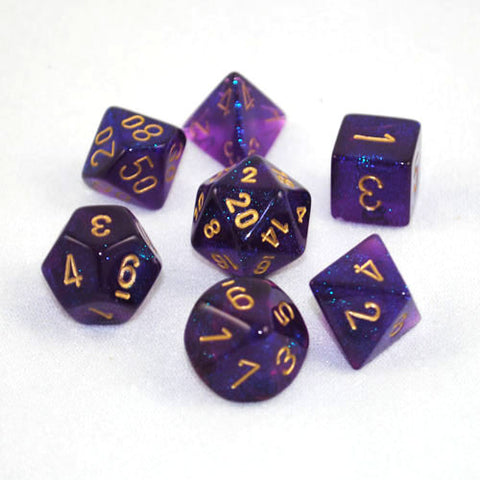 Set of 7 Chessex Borealis Royal Purple/gold RPG Dice