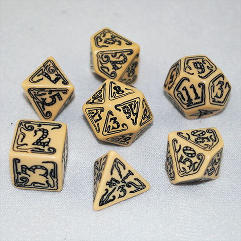 Beige and Black Call of Cthulhu Dice Set