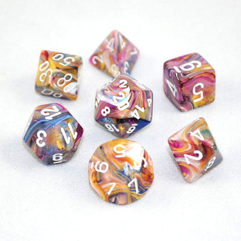 Set of 7 Chessex Festive Carousel/White RPG Dice