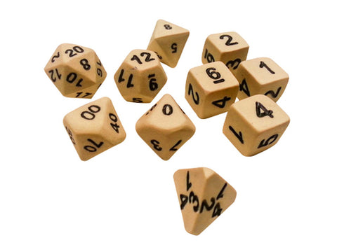 Ceramic Skeleton 10-Piece Dice Set