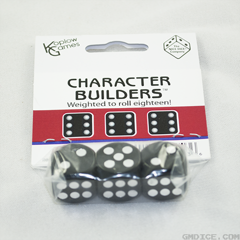 Loaded dice for rolling up a character in Dungeons & Dragons.