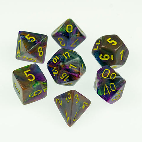 Set of 7 Chessex Rio/yellow RPG Dice