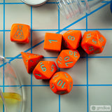 Set of 7 Chessex Heavy Orange with Turquoise RPG Dice