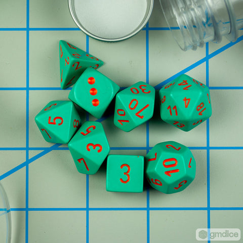 Set of 7 Chessex Heavy Turquoise with Orange RPG Dice