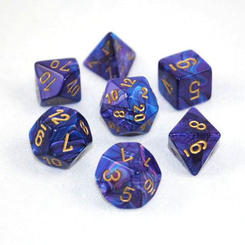 Set of 7 Chessex Lustrous Purple/gold RPG Dice