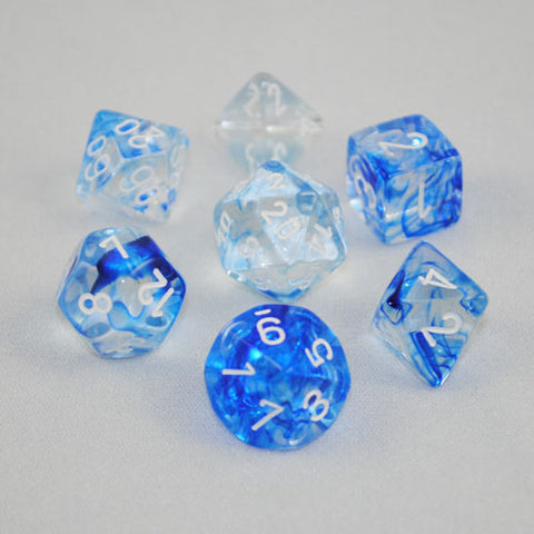 Set of 7 Chessex Nebula Dark Blue/white RPG Dice
