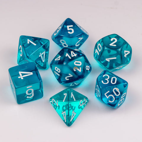 Chessex Translucent Polyhedral Teal/white 7-Die Set