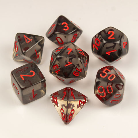 Chessex Translucent Polyhedral Smoke/red 7-Die Set