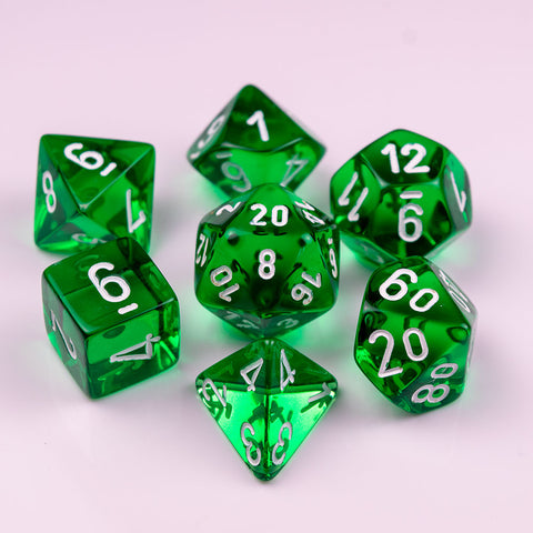 Chessex Translucent Polyhedral Green/white 7-Die Set