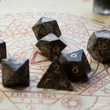 Chinese Snowflake Obsidian Dice Set of Guidance
