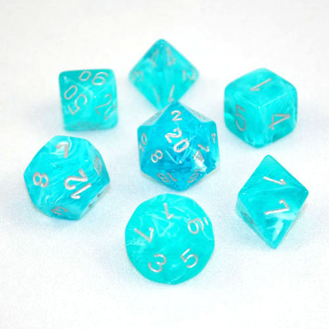 Set of 7 Chessex Cirrus Aqua/silver RPG Dice