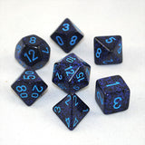 Set of 7 Speckled Cobalt Dice