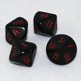 Opaque Black and Red 10 Sided Dice
