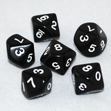 Opaque Black and White 10 Sided Dice