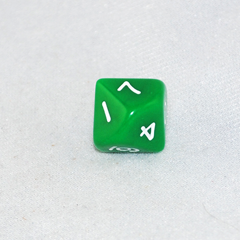 Opaque Green and White 10 Sided Dice
