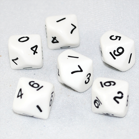 Opaque White and Black 10 Sided Dice