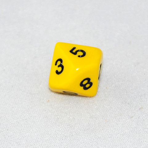 Opaque Yellow and Black 10 Sided Dice
