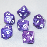 Pearlized Purple and White 10 Sided Dice
