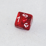 Pearlized Red and White 10 Sided Dice