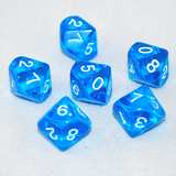 Transparent Blue and White 10 Sided Dice