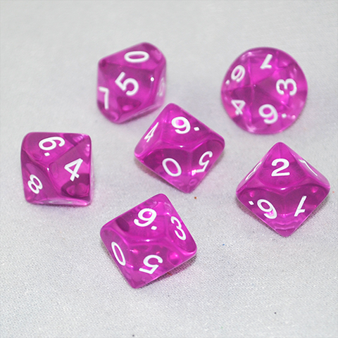 Transparent Orchid and White 10 Sided Dice