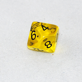 Transparent Yellow and Black 10 Sided Dice