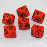 Speckled Fire D100, 10 Sided Dice